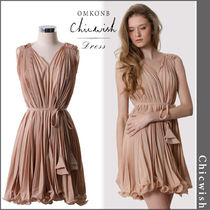 【国内発送・関税込】Chicwish★Peach Pleated Dress with Belt