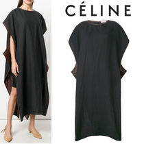 【18SS】大注目!!★CELINE★leather trim cape dress