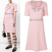 18SS WG307 JERSEY FLARE DRESS WITH CRYSTAL BOW