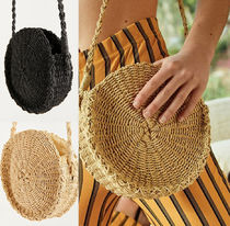カゴバッグ Small Circle Straw Round Crossbody Bag