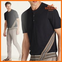 HERMES ☆Rayure diagonale buttoned t-shirt/Marine