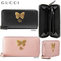 【正規品保証】GUCCI★18春夏★ZIP AROUND WALLET W/BUTTERFLY