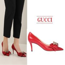 【GUCCI】leather pumps with bow☆ボゥ飾りレザーパンプス