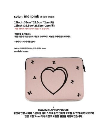 MAZZZZY スマホケース・テックアクセサリー heart laptop pouch/indi pink/blue/13インチ/2色/mazzzzy(12)