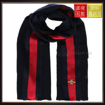【グッチ】Web Detailed Wool Cashmere Scarf Blue And Red