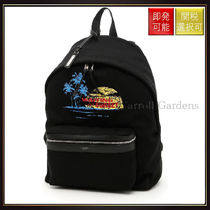 【サンローラン】Canvas And Leather Backpack Nero Blu Ro Gi N