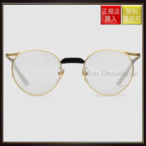 【グッチ】Round Frame Metal Glasses Gold Metal