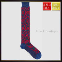 【グッチ】Geometric Skulls Stretch ton Socks Red/Blue