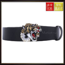 【グッチ】Leather Belt With Tiger ckle Black With Multi