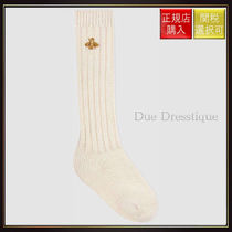 【グッチ】Stretch Wool Socks With Bee Ivory Wool