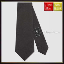 【グッチ】Bee Underknot Silk Tie Black Silk