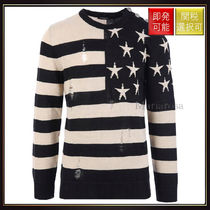 【バルマン】Ripped Wool Pullover With American Flag Design