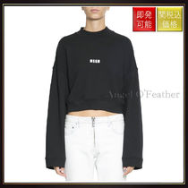 【エムエスジイエム】Cropped Cotton Logo Sweatshirt Nero