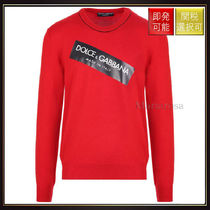 【ドルチェ&ガッバーナ】Logo Print Knit Pullover Red