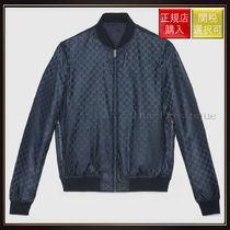 【グッチ】Reversible Jacquard Nylon Bomber Jacket Blue