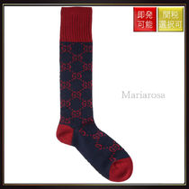 【グッチ】Gg Motif Cotton Socks Blue?And Bordeaux