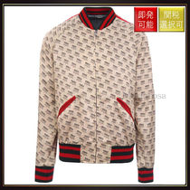 【グッチ】Gucci Stamp Print Satin Bomber Jacket OneColor
