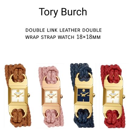 Tory Burch 腕時計 Leather Double Wrap Strap Watch 18x18