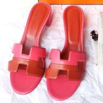 HERMES直営店 Sandales Oasis オアジス★fuchsia/orange brulee