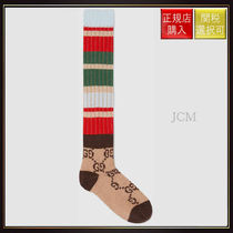 【グッチ】Gg Striped Wool Socks Beige Wool