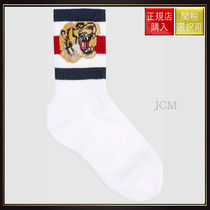 【グッチ】Stretch Cotton Socks With Tiger White Cotton