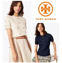 【TORY BURCH】Channing Embroidered Eyelet Knit Top