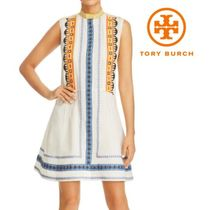 【TORY BURCH】Adriana Embroidered Fit-and-Flare Dress