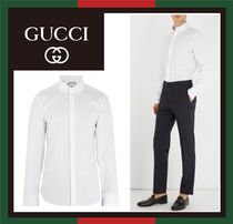 【GUCCI】Text-embroidered shirt★袖プリント コットン白シャツ