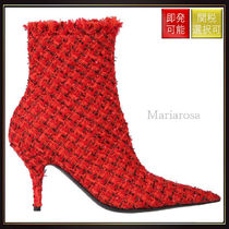 【バレンシアガ】Wool Tweed Ankle Boots Red