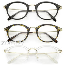 全3色*zeroUV*VINTAGE INSPIRED DAPPER P3 HORNED RIM CLEARLENS