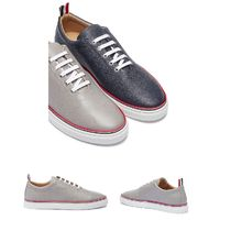 限定◆THOM BROWNE◆ASYMMETRIC PEBBLE GRAIN LEATHER SNEAKERS
