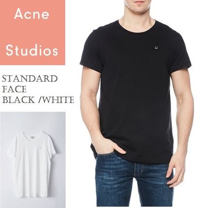 Acne Tシャツ・カットソー ACNE Standard face black/white スタンダードフェイス付Tシャツ