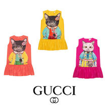 【GUCCI】Children's silk dress with kitten print