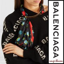 【国内発送】Balenciaga スカーフ Floral silk gold-tone neck