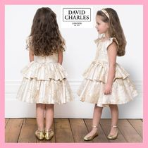 DAVID CHARLES★pale gold&beige ブロケードドレス★2-10Y