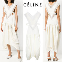 【18SS】★CELINE★v-front cutout side sharkbite hem dress