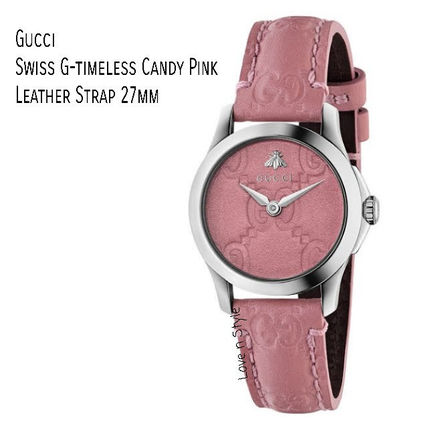 Gucci 追跡付 Swiss G-Timeless Candy Pink Leather Strap Watch