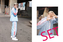 NERDY★  [限定]男女兼 Line Windbreak Track 上下SET Sky Blue