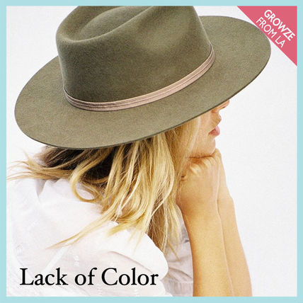 lack of color ハット 【lack of color】ヴィンテージ風 ユニセックス フェドラ カーキ