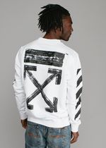 OFF-WHITE ☆ DIAG BRUSHED CREWNECK SWEATER スウェット 白