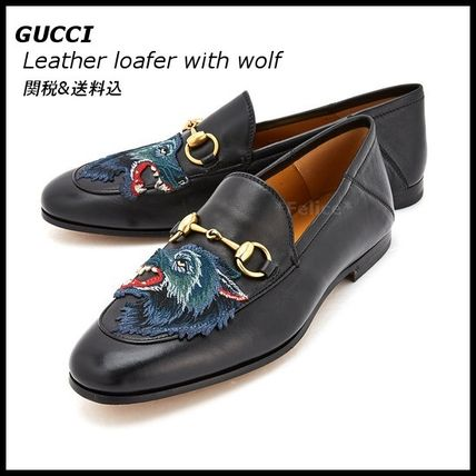 *GUCCI*新作 Leather loafer with wolf 関税/送料込