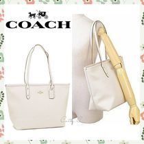 Coach*SALE*人気*レザー*白*A4サイズ可/City Zip Top Tote