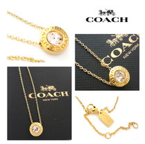 ★SALE【国内発送】コーチ COACH ロゴ1粒ストーン ネックレスGD