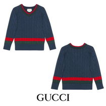 【GUCCI】Children's cotton sweater with Web