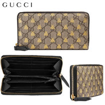 【正規品保証】GUCCI★18春夏★GGSUPREME BEE ZIP AROUND WALLET