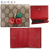 【正規品保証】GUCCI★18春夏★GG UPREME CARD CASE W/ CHERRIES