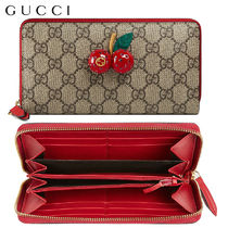 【正規品保証】GUCCI★18春夏★ZIP AROUND WALLET WITH CHERRIES
