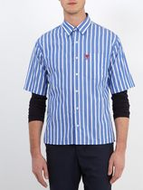 [ AMI ALEXANDRE MATTIUSSI ] Striped logo-embroidered shirt