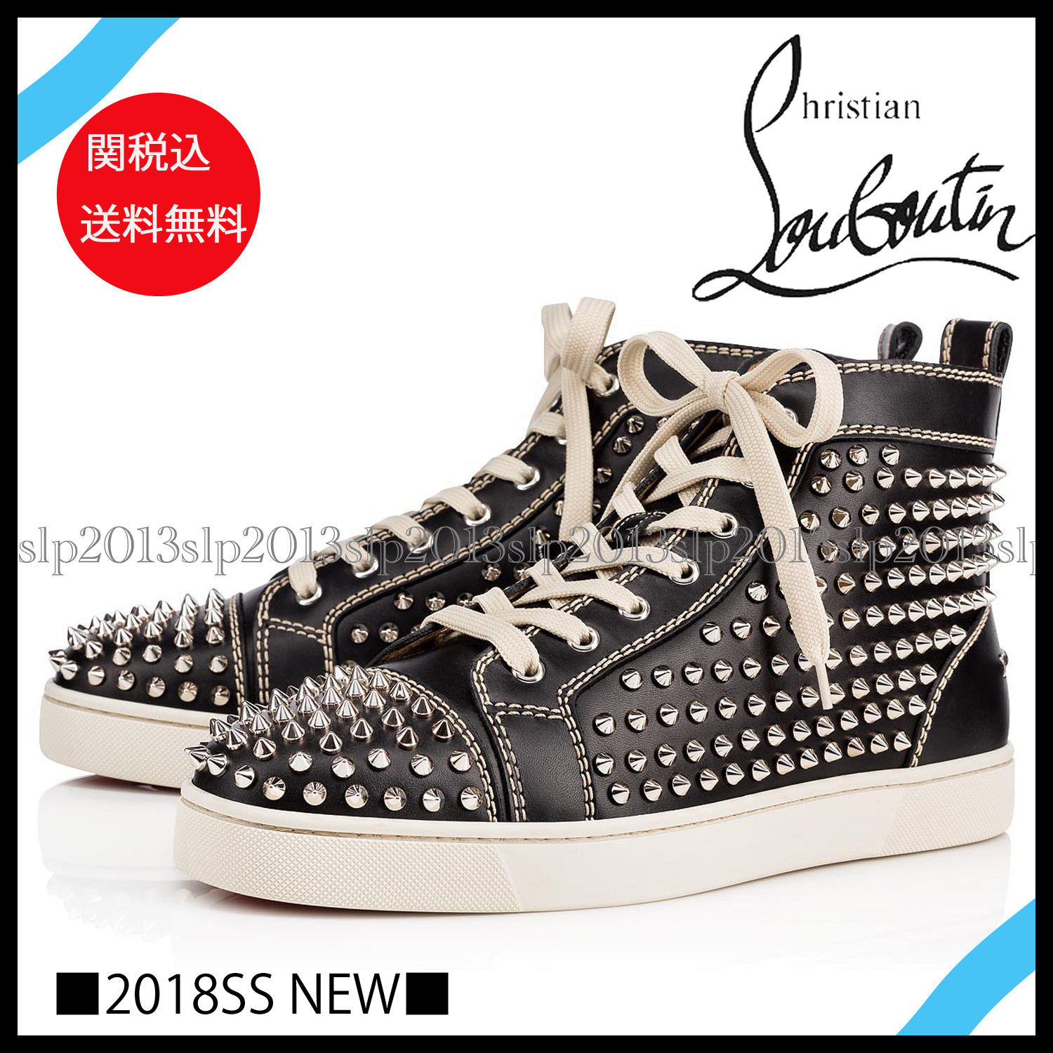 cheap for discount 13a56 33f2f Christian Louboutin LOUIS 2018 SS Blended Fabrics Studded Plain Leather  Sneakers (1101083BK65)