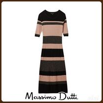 MassimoDutti♪RIBBED DRESS WITH STRIPES AND SHINY DETAILS